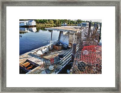 Work Boat And The Nets Framed Print