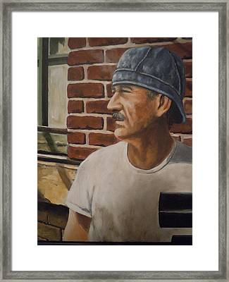 Framed Print featuring the painting Worker At Union Switch And Signal by James Guentner