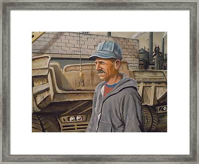 Framed Print featuring the painting Worker At U.s.s.mill Station 108 by James Guentner