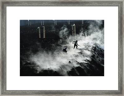 Workers At The Blue Plains Waste Water Framed Print by Robert Madden