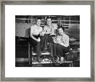 Workers On Lunch Break Framed Print by George Marks