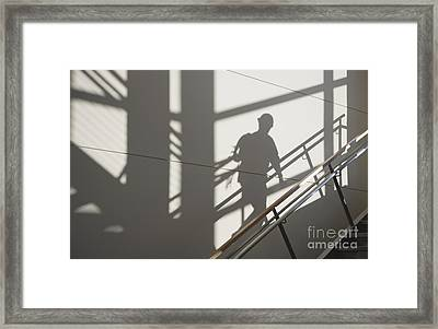 Workers Shadow In A Stairwell Framed Print by Andersen Ross