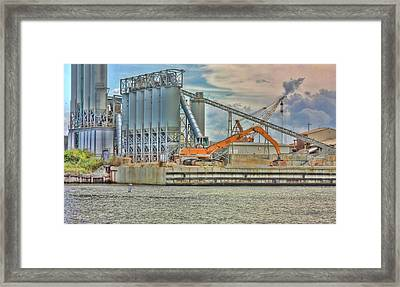 Working By The Bay Framed Print by Elizabeth Spencer
