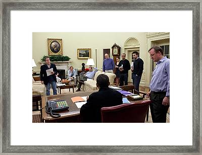 Working Sunday Night In The Oval Office Framed Print