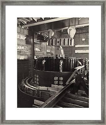 Workmen Installing A Generator Framed Print
