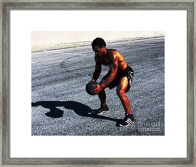 Workout In The Yard Framed Print by Sunset Road Fitness Photography