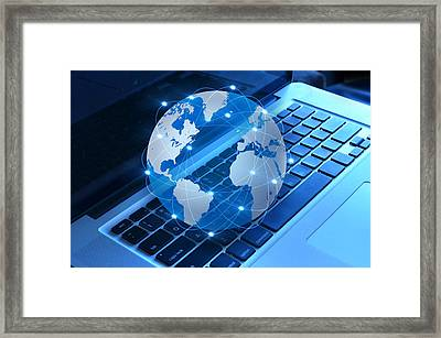 World And Computer Framed Print by Nattapon Wongwean