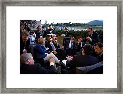World Leaders Relax Before Dinner Framed Print by Everett