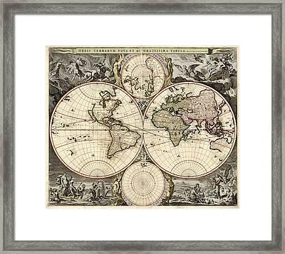 World Map, 1690 Framed Print