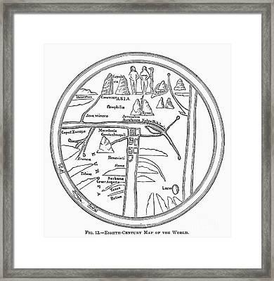 World Map, 8th Century Framed Print