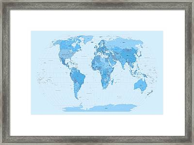 World Map Blues Framed Print by Michael Tompsett