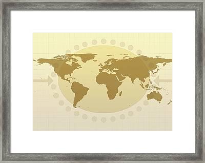 World Map Framed Print by Flatliner