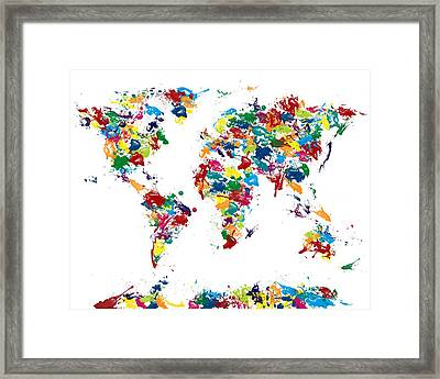 World Map Glossy Paint 16 X 20 Framed Print by Michael Tompsett