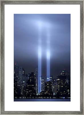 Framed Print featuring the photograph World Trade Center Memorial Lights by Michael Dorn