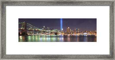 World Trade Center Tribute Lights Framed Print