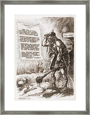World War 1 Cartoon Of A Barbaric Framed Print by Everett