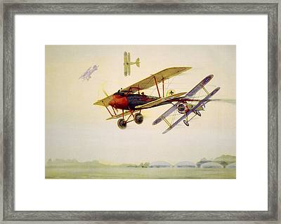 World War I Air Battle In Which Framed Print by Everett