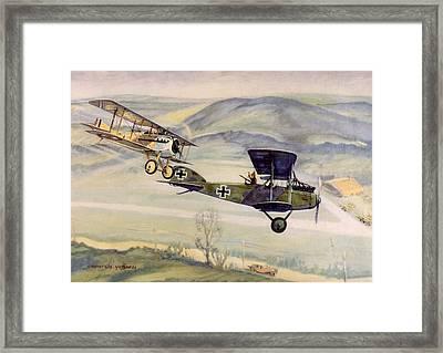World War I Air Battle With French Spad Framed Print by Everett