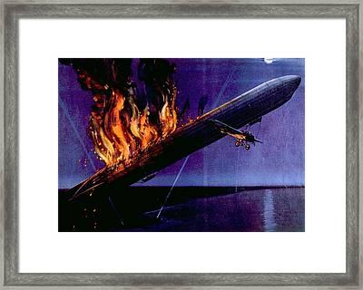 World War I Air Battle With German L-5 Framed Print by Everett