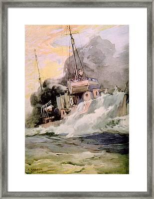 World War I, American Destoyer Laying Framed Print by Everett