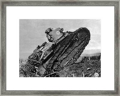 World War I, American Tank Plowing Framed Print