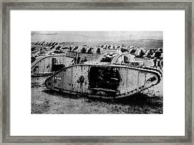 World War I, English Tanks Ready Framed Print by Everett