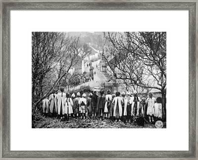 World War I, French Children Observe Framed Print by Everett