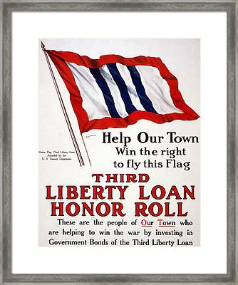 World War I, Poster - Help Our Town Win Framed Print by Everett