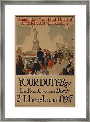 World War I Poster Aimed At Recent Framed Print by Everett