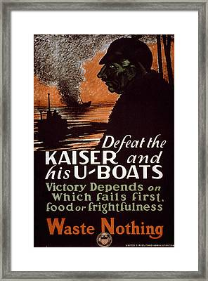 World War I, Poster Showing A Dark Framed Print by Everett