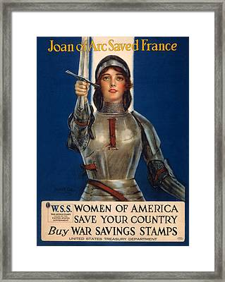 World War I, Poster Showing Joan Of Arc Framed Print by Everett