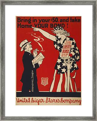 World War I, Poster Showing Liberty Framed Print by Everett