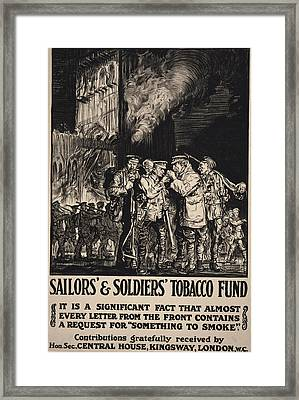 World War I, Poster Showing Soldiers Framed Print by Everett