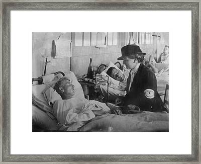 World War I, Taking A Message For Home Framed Print by Everett