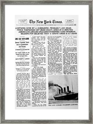 World War I, The Sinking Framed Print by Everett