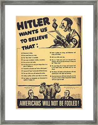 World War II, American War Propaganda Framed Print by Everett