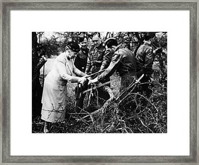 World War II. Left British Queen Mary Framed Print by Everett