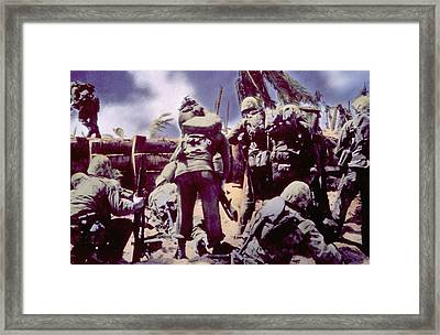 World War II, Marines Invading Tarawa Framed Print by Everett