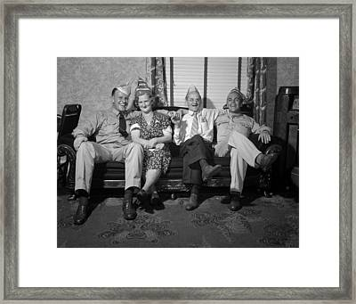 World War II, Party With Soldier Framed Print by Everett