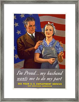 World War II, Poster Showing A Husband Framed Print by Everett
