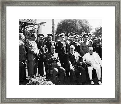 World War II. Seated, From Left Chiang Framed Print by Everett