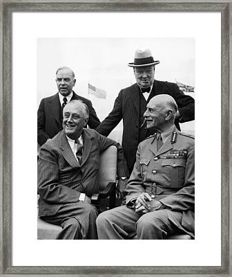 World War II. Seated, From Left  Us Framed Print by Everett