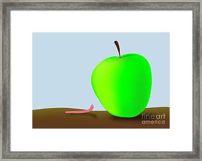 Worm And Big Apple Framed Print