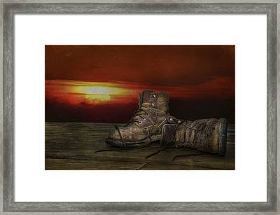 Worn Out Boots Framed Print by Maria Dryfhout