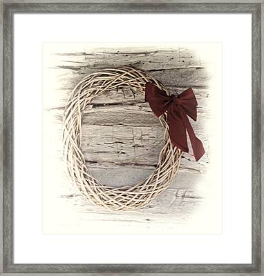 Woven Reed Wreath Framed Print by Linda Phelps