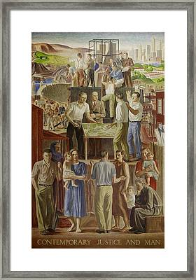 Wpa Mural. Contemporary Justice And Man Framed Print by Everett