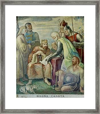 Wpa Mural. Magna Charta Boardman Framed Print by Everett