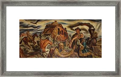 Wpa Mural. Pioneers In Kansas By Ward Framed Print by Everett