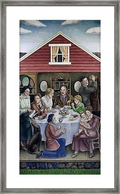 Wpa Mural. Society Freed Through Framed Print by Everett