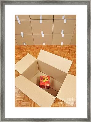Wrapped Gift Box Inside Cardboard Box Framed Print by Sami Sarkis